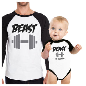 Beast In Training Dad Baby Matching Baseball Shirts Funny Baby Gift