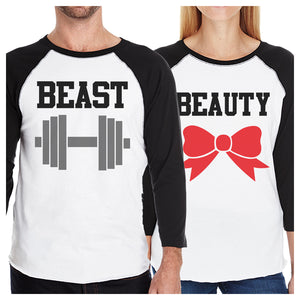 Beast And Beauty Matching Couples Baseball Shirts Funny Anniversary