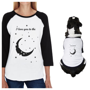 Moon And Back Small Dog and Mom Matching Outfits Raglan Tees Cotton