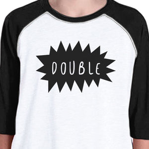 Double Trouble Kid and Pet Matching Black And White Baseball Shirts