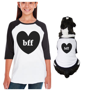 Bff Heart Kid and Pet Matching Black And White Baseball Shirts