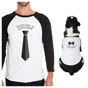 Raising A Gentleman Ladies Love A Gentleman Owner and Pet Matching Black And White Baseball Shirts