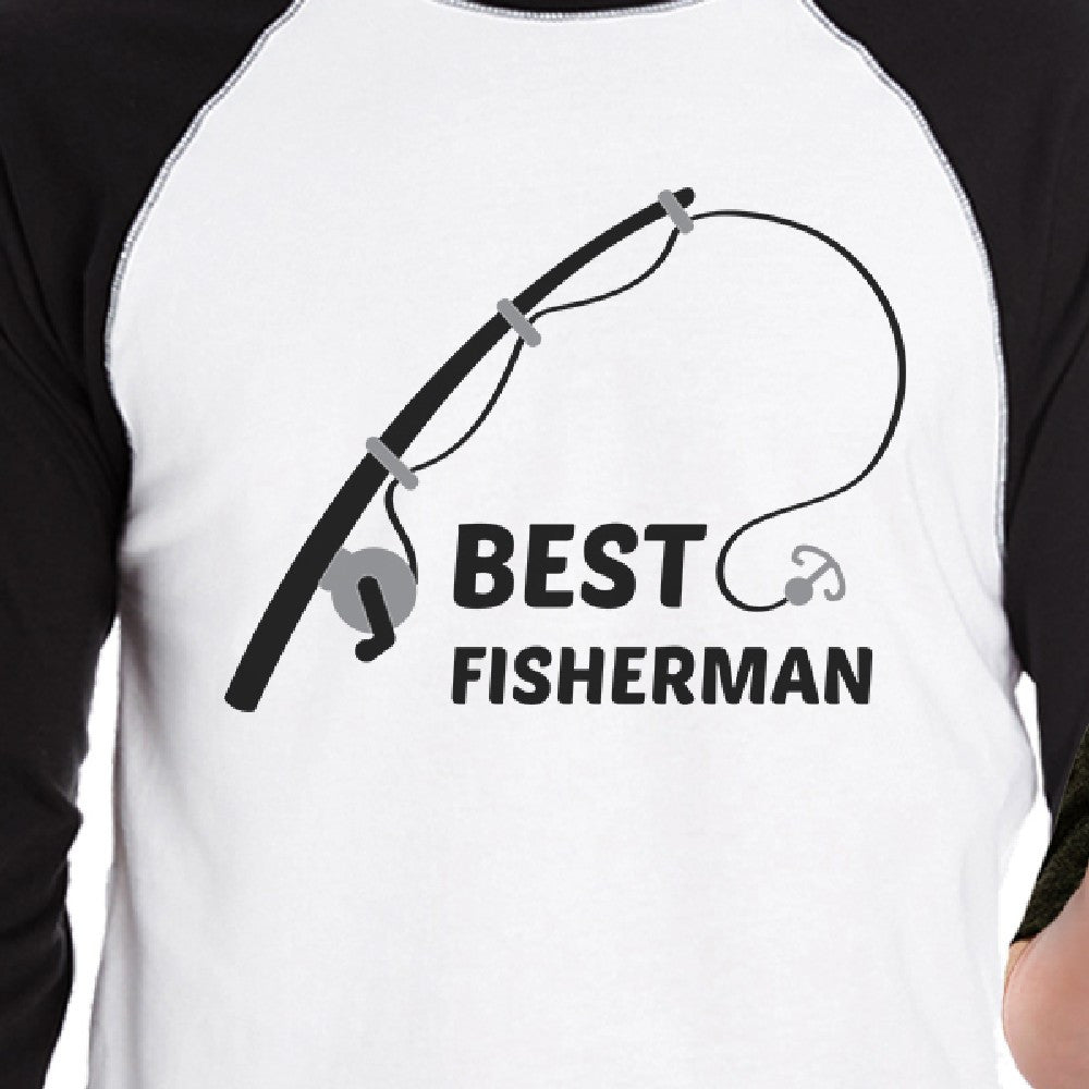 5d0645c0 Best Fisherman Cutest Catch Dad and Baby Matching Black And White Baseball  Shirts
