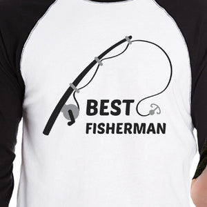 Best Fisherman Cutest Catch Dad and Baby Matching Black And White Baseball Shirts