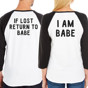 If Lost Return To Babe And I Am Babe Matching Couple Black And White Baseball Shirts