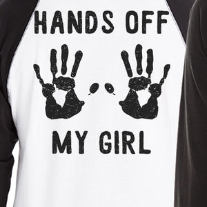 Hands Off My Girl And My Guy Matching Couple Black And White Baseball Shirts