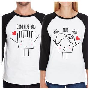 Come Here You Mua Mua Mua Matching Couple Black And White Baseball Shirts
