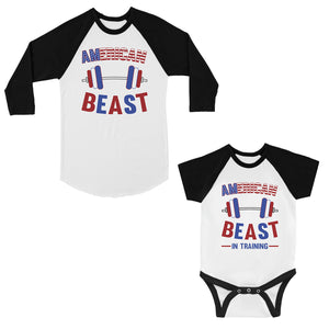 American Beast Training Dad Baby Matching Baseball Shirts Infant T
