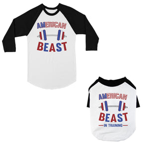American Beast Training Small Pet and Dad Matching Baseball Jerseys