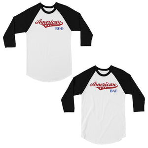 American Boo Bae Matching Couples Baseball Shirts Cute Wedding Gift
