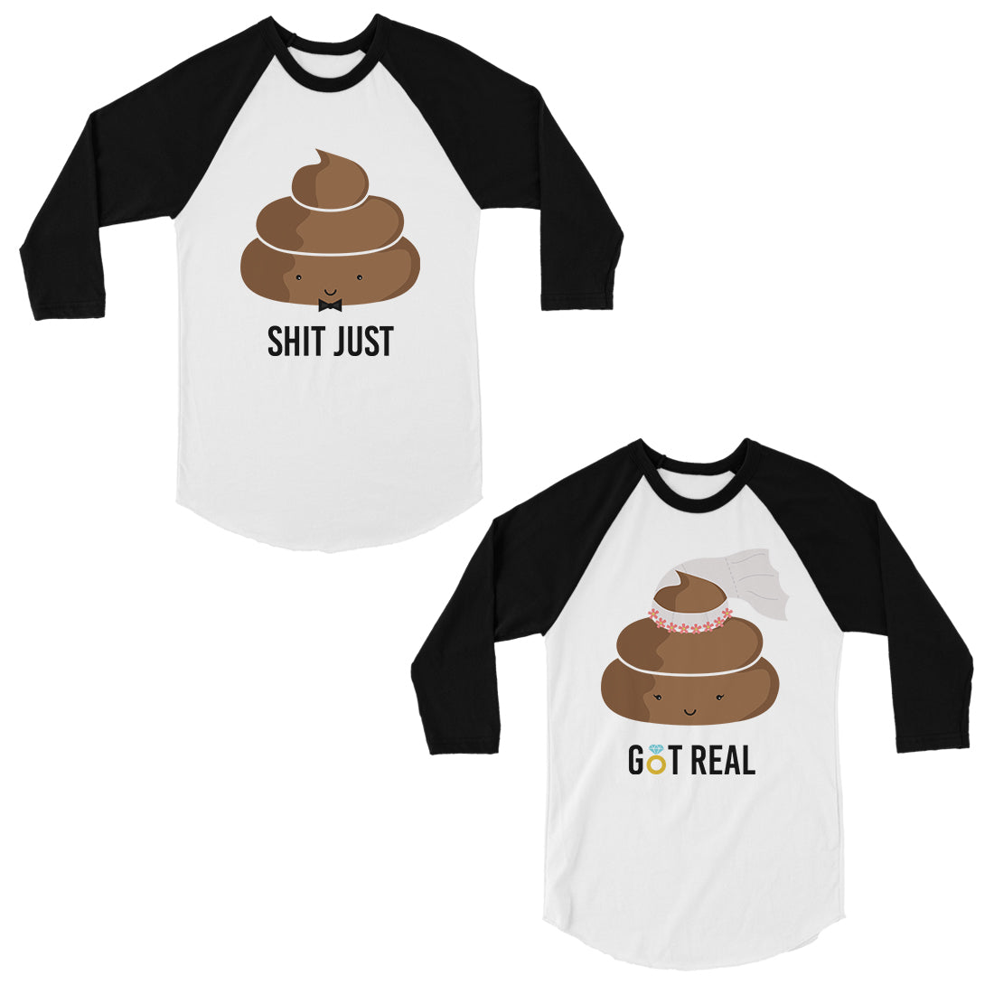 Funny Wedding Gifts.Poop Shit Got Real Matching Baseball Shirts Funny Wedding Gifts