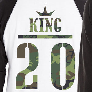 King And Queen Military Pattern Custom Matching Couple Black And White Baseball Shirts
