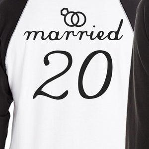 Married Since Custom Matching Couple Black And White Baseball Shirts