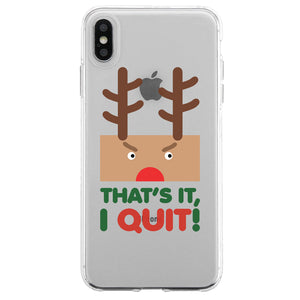 Rudolph Santa Quit Couple Matching Phone Cases Funny Christmas Gift