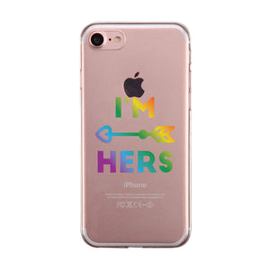 LGBT She's Mine I'm Hers Rainbow Clear Matching Phone Cases