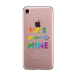 LGBT He's Mine I'm His Rainbow Clear Matching Phone Cases