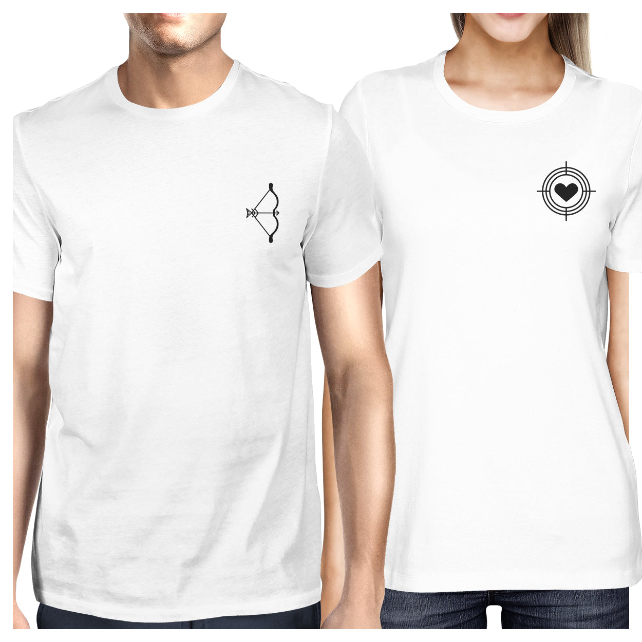 b53fdaa740747 Bow And Arrow To Heart Target Matching Couple White Shirts - 365 IN ...