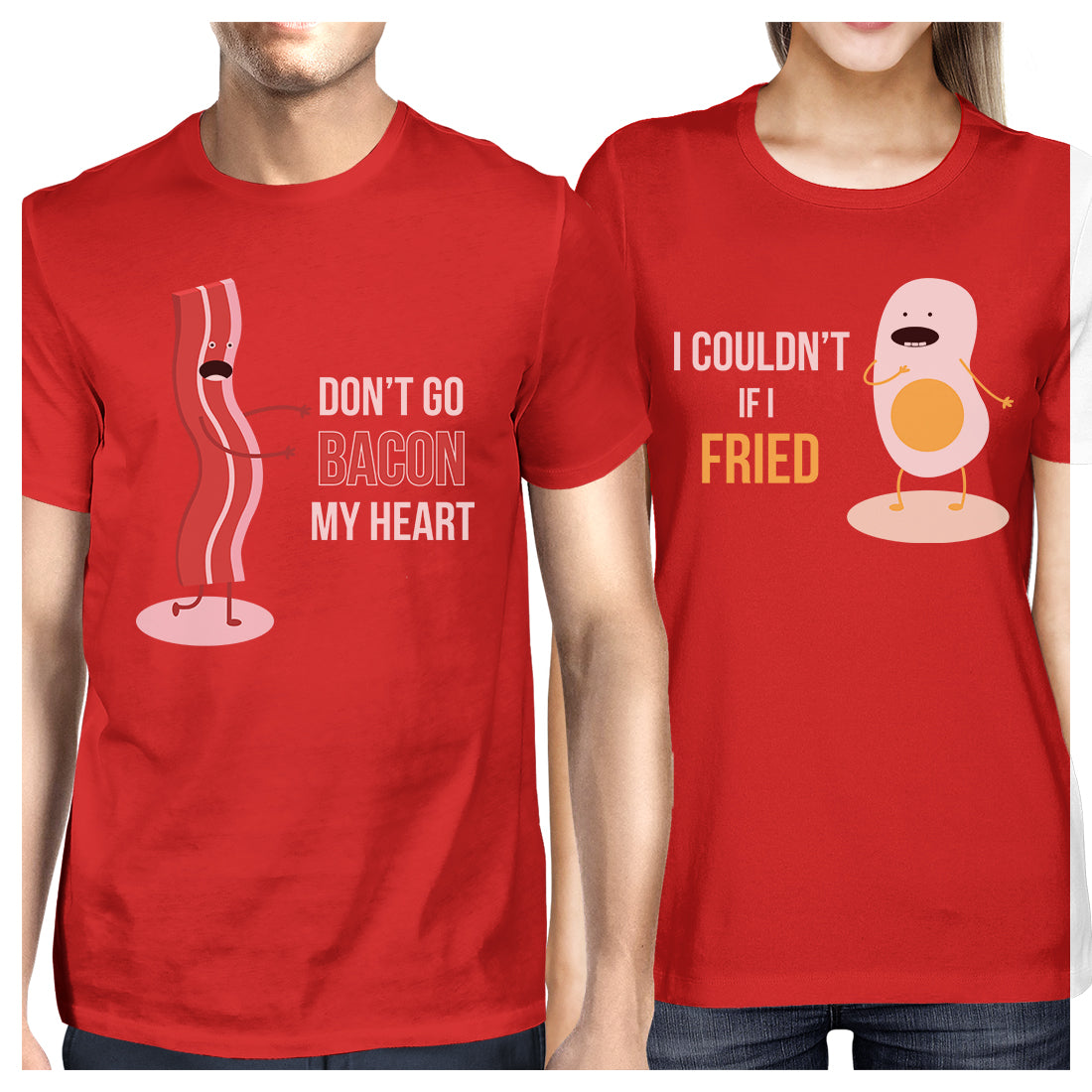 28e71f3f1 Bacon And Egg Matching Couple Gift Shirts Red Funny Graphic Tees ...