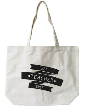 "Women's Canvas Bag- Natural Canvas Tote Bag by - ""Best Teacher Ever"" - 365INLOVE"
