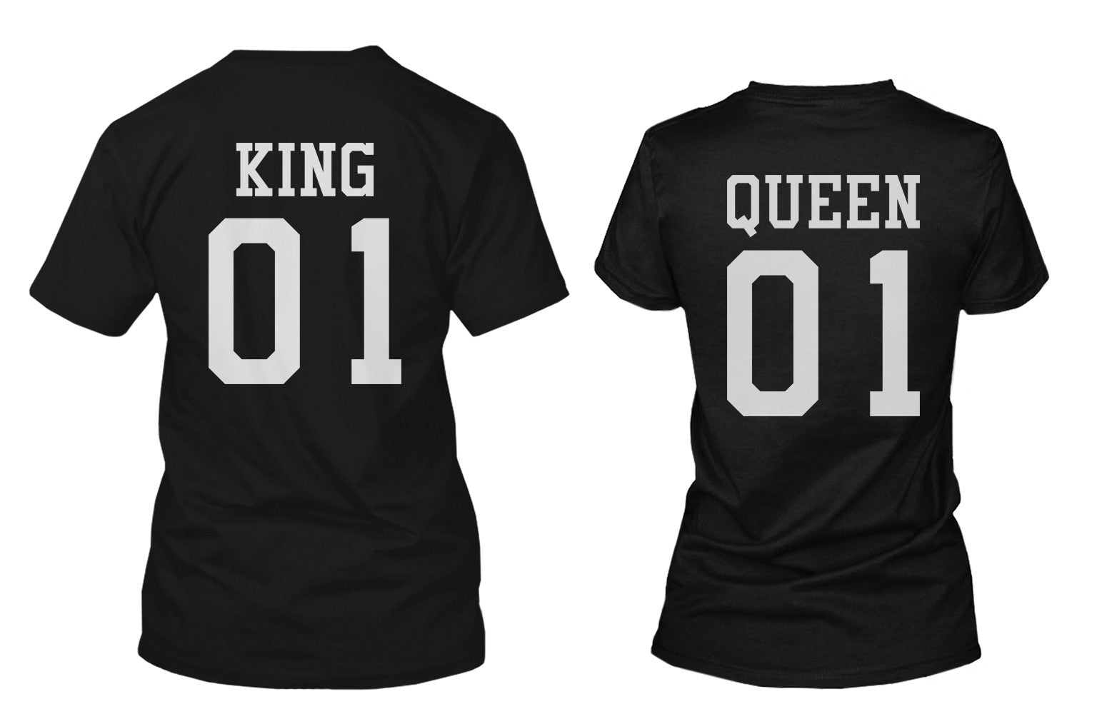 ed0917b20b King 01 and Queen 01 Back Print Couple Matching T-Shirts Valentine's ...