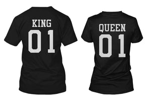 King 01 and Queen 01 Back Print Couple Matching T-Shirts Valentine's Day Gifts Ideas - 365INLOVE