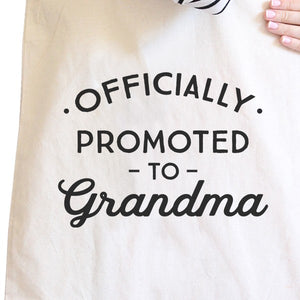 Officially Promoted To Grandma Natural Canvas Bag