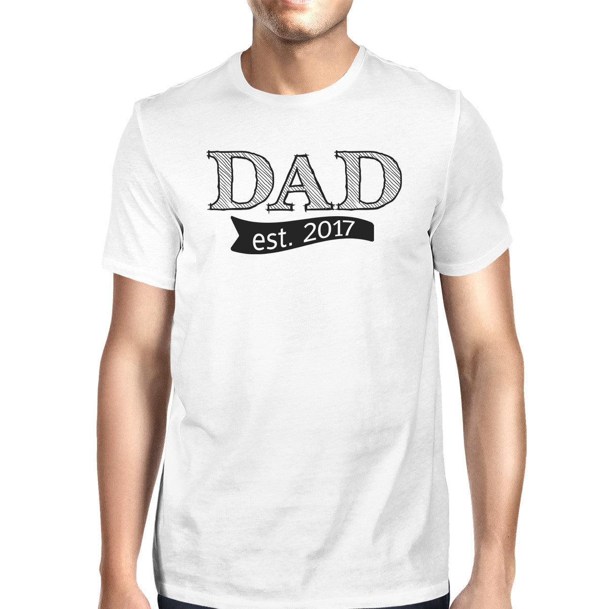 1564b0b8 Dad Est 2017 White T-shirt For Men Fathers Day Gifts For New Dads ...
