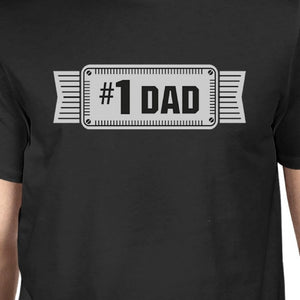 #1 Dad Mens Black Vintage Graphic Tee Funny Gifts For Fathers Day - 365INLOVE
