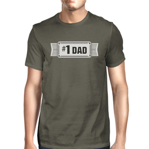 #1 Dad Mens Dark Gray Round Neck Unique Design Tee Funny Dad Gifts - 365INLOVE