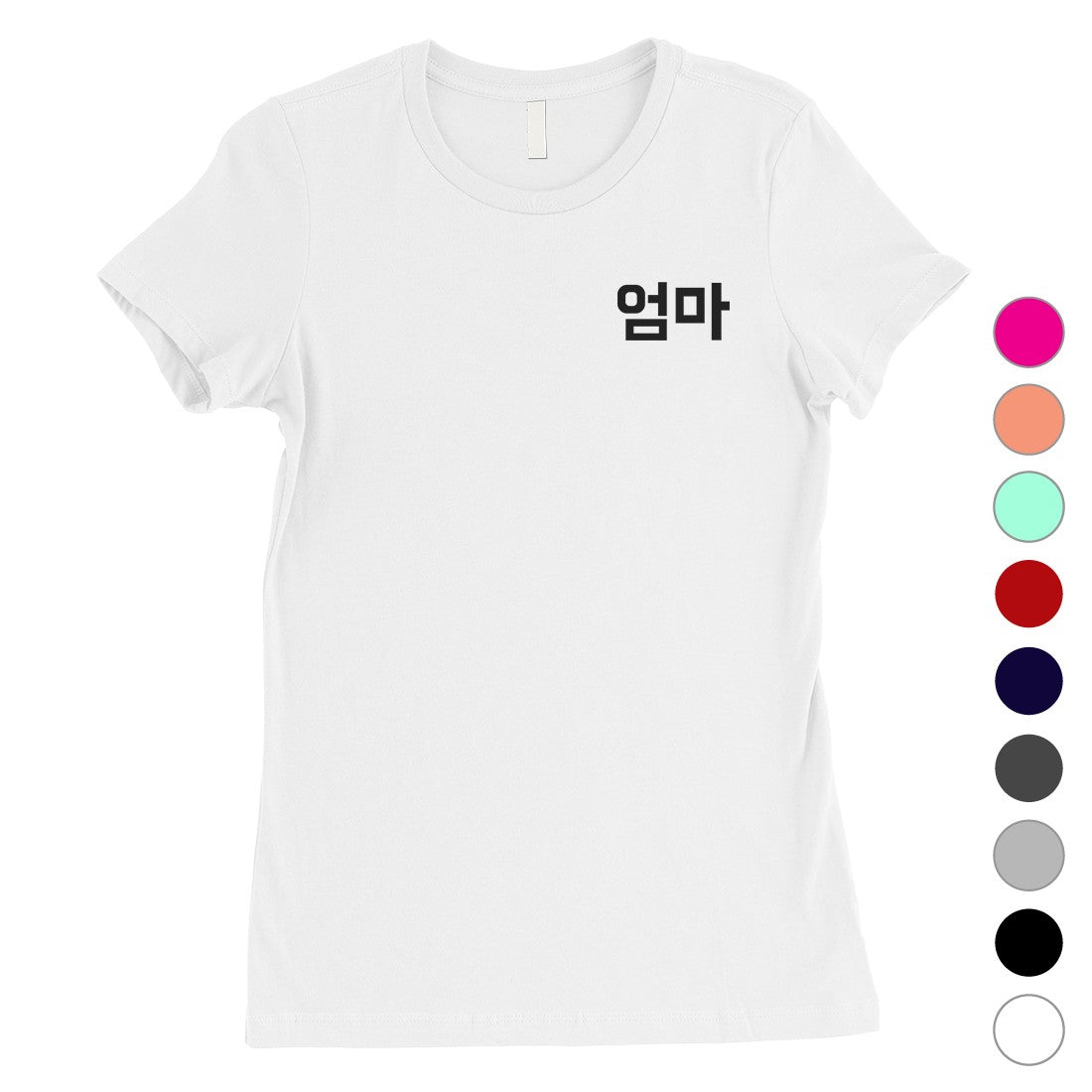 Mom Korean Letters Womens Short Sleeve TShirt Funny Mothers Day Tee