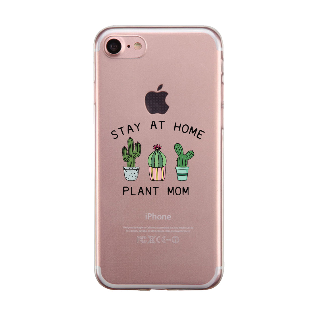 Stay At Home Plant Mom Clear Phone Case Funny Birthday Gifts