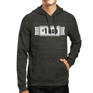 #1 Dad Unisex Dark Grey Funny Fathers Day Hoodie Pullover Fleece - 365INLOVE