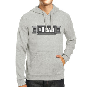 #1 Dad Unisex Grey Pullover Hoodie For Men Holiday Gifts For Dad - 365INLOVE