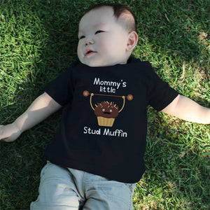 Mommy's Stud Muffin Baby Tee Cute Infant Black T Shirt Gift for Baby Shower - 365INLOVE