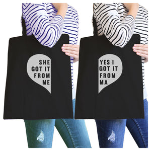 She Got It From Me Black Mom and Daughter Funny Graphic Canvas Bag - 365INLOVE