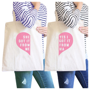 She Got It From Me Natural Cute Design Canvas Tote Bag Mom Gifts - 365INLOVE