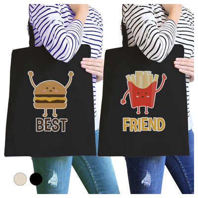 Hamburger And Fries BFF Matching Canvas Bags Cute Friends Gifts