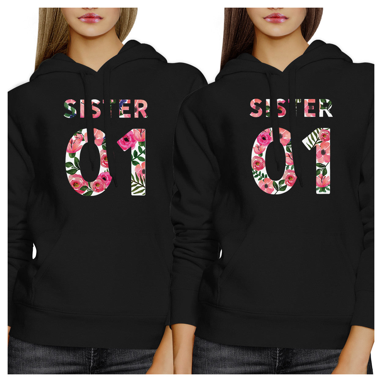 c27de39f1516 Sister 01 BFF Matching Black Hoodies - 365 IN LOVE - Matching Gifts ...