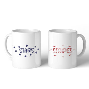 Stars And Stripes BFF Matching Gift Coffee Mugs 11 Oz Coffee Lovers