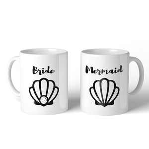 Bride Mermaid Seashell BFF Matching Gift Coffee Mugs 11 Oz Relaxed