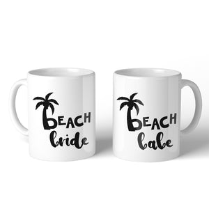 Beach Bride Babe Palm Tree BFF Matching Gift Coffee Mugs 11 Oz Gift