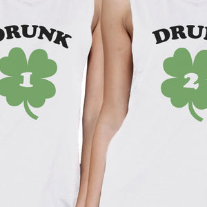 Drunk1 Drunk2 Womens White Muscle Top Marching T Shirt Patricks Day - 365INLOVE