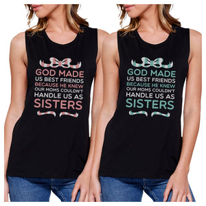 God Made Us BFF Matching Tank Tops Womens Cute Graphic Tanks Girt
