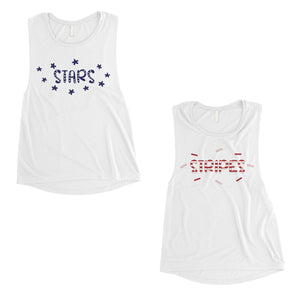 Stars And Stripes BFF Matching Tank Tops Womens For Sister Birthday