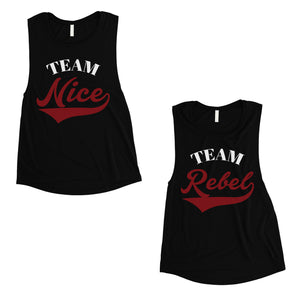 Team Nice Team Rebel BFF Matching Muscle Top Womens Christmas Gift