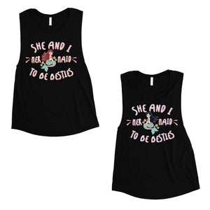 Mermaid To Be Besties Cute BFF Matching Muscle Tank Tops For Womens
