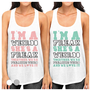 Weirdo Freak Best Friend Gift Shirts Womens Cute Graphic Tank Tops