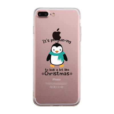 its penguin ing to look a lot like christmas clear phone case