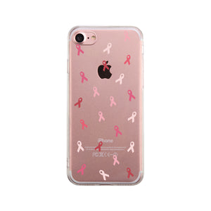 Breast Cancer Ribbon Pattern Clear Phone Case