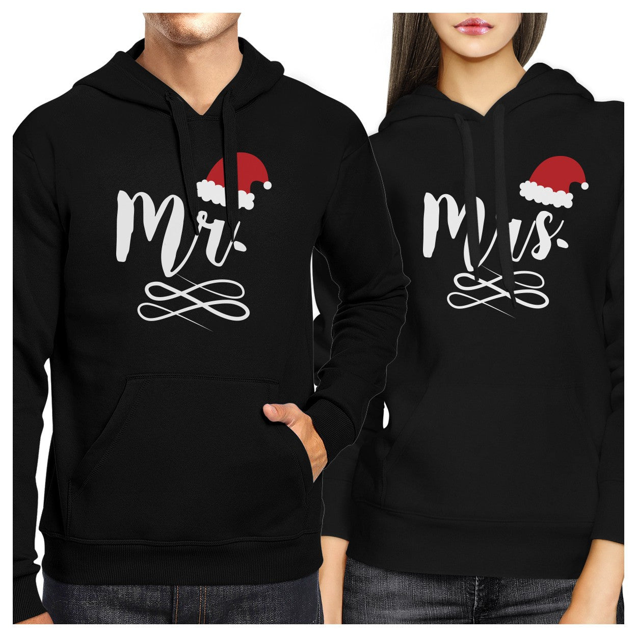 mr and mrs christmas hat couple hoodies cute